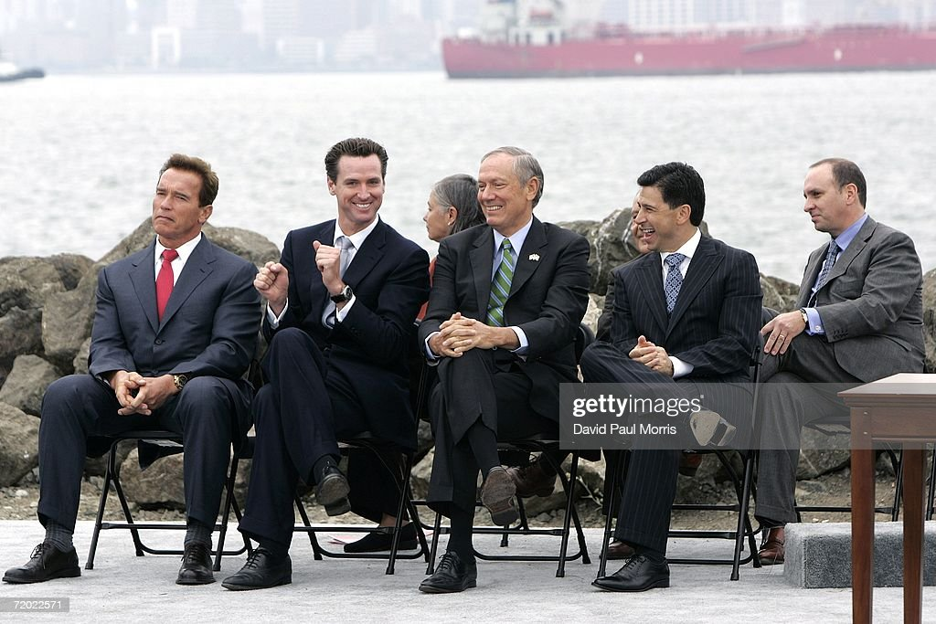 California Governor Arnold Schwarzenegger, San Francisco Mayor Gavin Newsom, New York Governor George Pataki and California Assembly Speaker Fabian Nunez share a light moment on September 27, 2006 on Treasure Island in San Francisco, California. Gov. Schwarzenegger signed a landmark legislation bill AB-32, the California Global Warming Solutions Act of 2006 to reduce greenhouse emissions in order to help global warming. He was joined by British Prime Minister Tony Blair via satellite along with other international leaders with a consistent record of addressing the global threat of climate change and other environmental and industry leaders.
