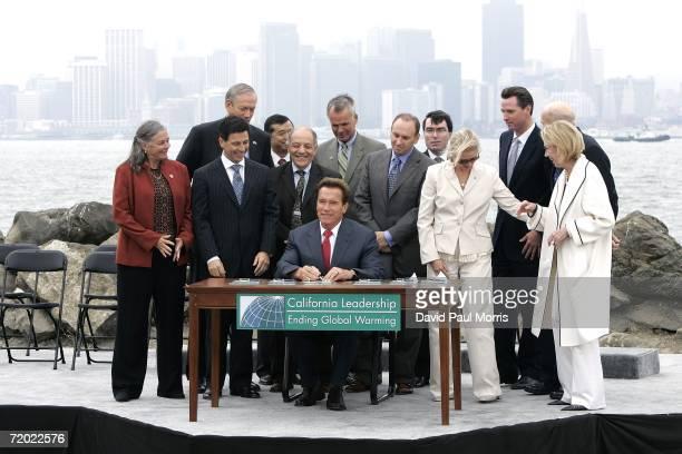California Governor Arnold Schwarzenegger signs landmark legislation bill AB32 the California Global Warming Solutions Act of 2006 to reduce...