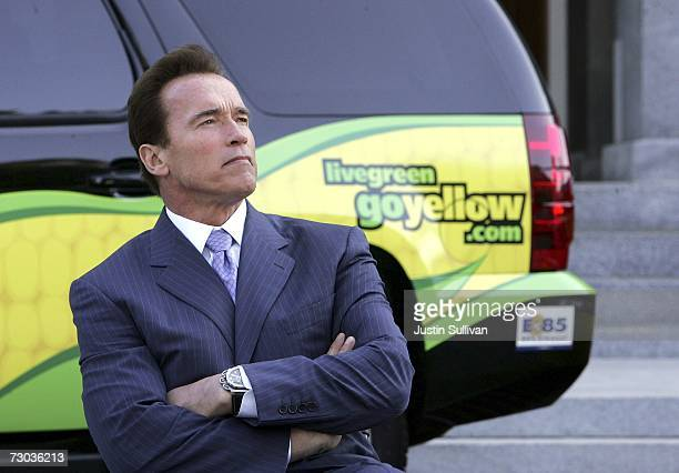 California governor Arnold Schwarzenegger sits next to an ethanol powered vehicle after signing Executive Order S0107 during a ceremony at the...