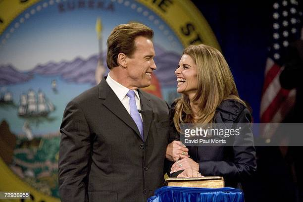 California Governor Arnold Schwarzenegger smiles at his wife Maria Shriver after being sworn into office for a second term as Governor on January 5...
