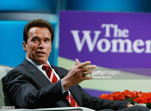 California Governor Arnold Schwarzenegger speaks at the 2008 Women's Conference at the Long Beach Convention Center on October 22 2008 in Long Beach...