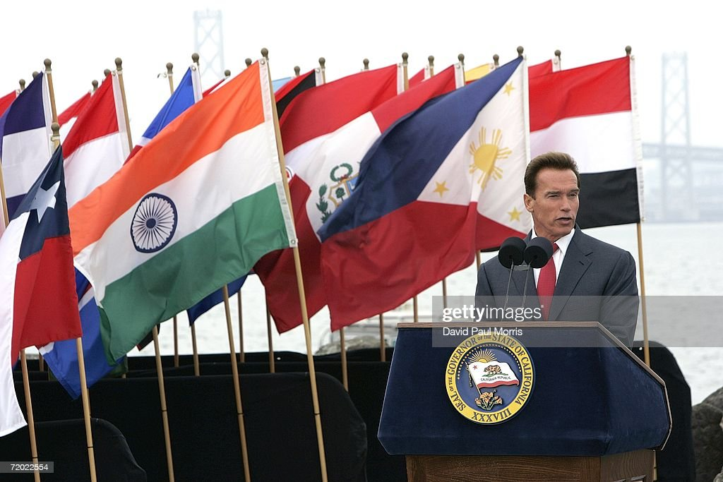 California Governor Arnold Schwarzenegger speaks before he signs landmark legislation bill AB-32, the California Global Warming Solutions Act of 2006 to reduce greenhouse emissions in order to help global warming on September 27, 2006 on Treasure Island in San Francisco, California. Schwarzenegger was joined by New York Governor George Pataki, and British Prime Minister Tony Blair via satellite along with other international leaders with a consistent record of addressing the global threat of climate change and other environmental and industry leaders.