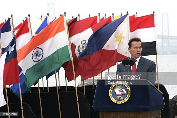 California Governor Arnold Schwarzenegger speaks before he signs landmark legislation bill AB32 the California Global Warming Solutions Act of 2006...
