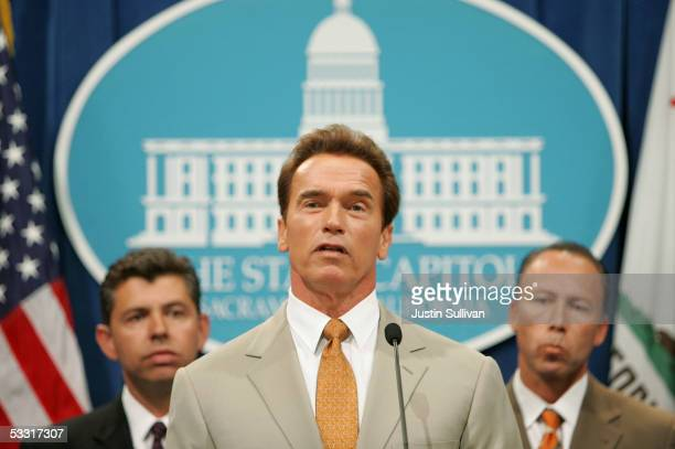 California Governor Arnold Schwarzenegger speaks during a news conference as California State Senators Abel Maldonado and Dean Florez look on at the...