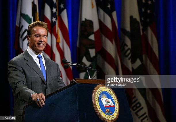 California Governor Arnold Schwarzenegger speaks to reporters during his first news conference as governor November 18, 2003 in Sacramento,...