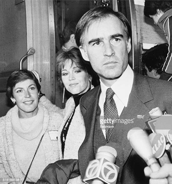 California Governor Edmund G. Brown is joined by singer Helen Reddy and actress Jane Fonda as they board a train in Los Angeles to San Diego for a...