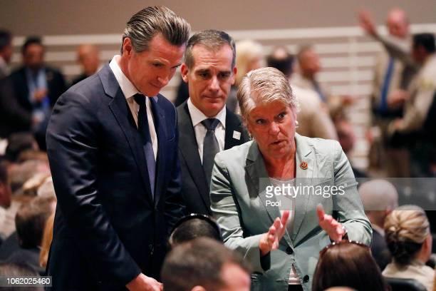California Governor elect Gavin Newsom left Los Angeles Mayor Eric Garcetti and US Representative Julia Brownley right talk to Jason Coffman father...