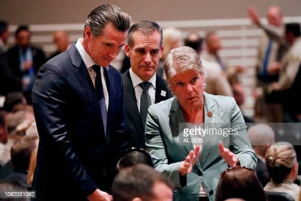 California Governor elect Gavin Newsom Los Angeles Mayor Eric Garcetti and US Representative Julia Brownley talk to Jason Coffman father of Cody...