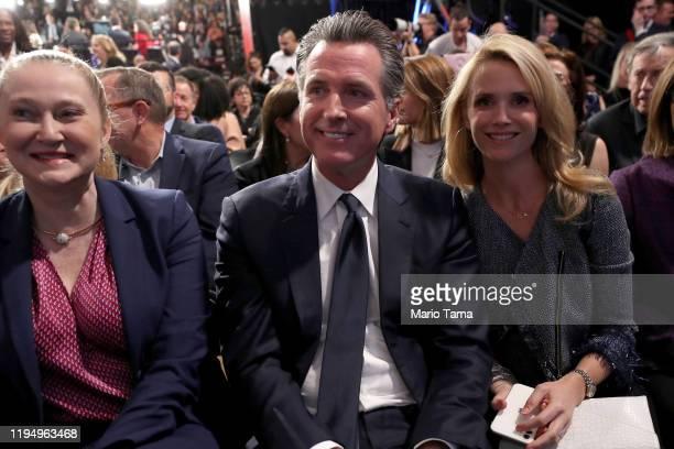 California Governor Gavin Newsom and wife Jennifer Siebel attend the Democratic presidential primary debate at Loyola Marymount University on...