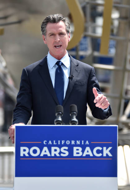 CA: Governor Gavin Newsom Holds Press Conference For Official Reopening Of The State Of California At Universal Studios Hollywood
