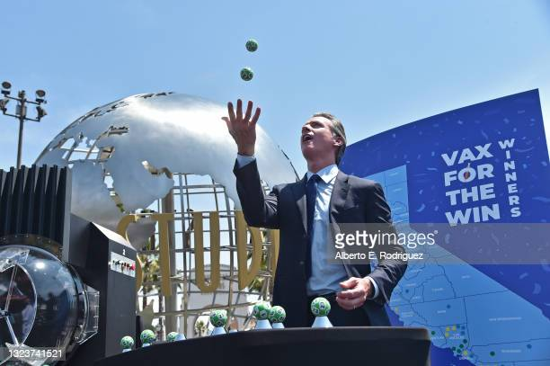 California Governor Gavin Newsom attends California Governor Gavin Newsom's press conference for the official reopening of the state of California at...