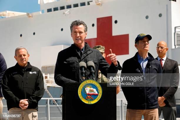 California Governor Gavin Newsom , flanked by Director Mark Ghilarducci, Cal OES, Los Angeles Mayor Eric Garcetti, and Dr. Mark Ghaly, Secretary of...