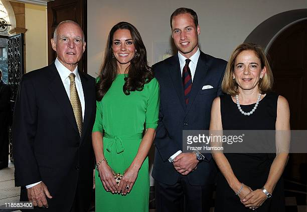 California Governor Jerry Brown Catherine Duchess of Cambridge and Prince William Duke of Cambridge Anne Gust Brown attend a private reception held...