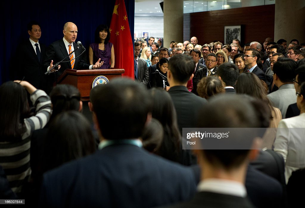 California Governor Jerry Brown delivers his speech during a Trade and Investment reception at the U.S. Embassy on April 10, 2013 in Beijing, China. Brown is in China leading a business delegation and will meet with Chinese government and business leaders to discuss bilateral trade and investment opportunities between China and his state of California.