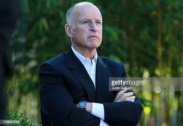 California governor Jerry Brown looks on during a ribbon cutting ceremony to open the new Dell research and development facility on October 19 2011...