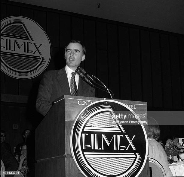 California Governor Jerry Brown speaking at the Filmex black tie ball at the Century City Hotel after the movie premiere of 'FIST' on April 13 1978...