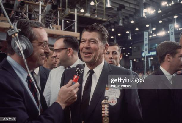 California governor Ronald Reagan speaks with NBC reporter John Chancellor at the Republican National Convention Miami Beach Florida August 1972