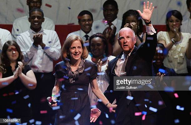 California Governorelect Jerry Brown with his wife Anne GustBrown after speaking to supporters as he celebrates his win during an election night...