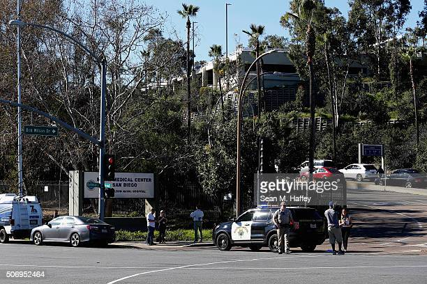 California Highway Patrol officers control traffic outside Naval Medical Center San Diego after reports of gunfire inside the Military Hospital on...