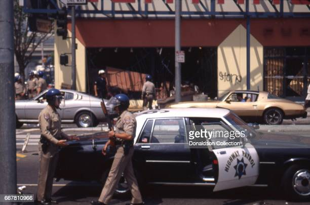 California Highway Patrol officers during widespread riots that erupted after the acquittal of 4 LAPD officers in the videotaped arrest and beating...