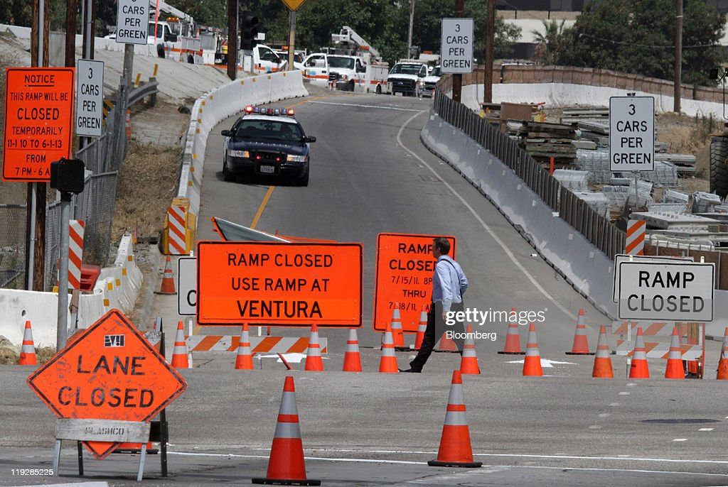 A California Highway Patrol vehicle enforces the closure of the