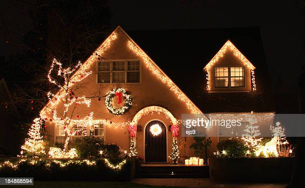 california home decorated with christmas lights and decorations - christmas lights stock pictures, royalty-free photos & images