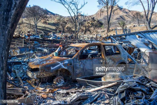 California homes lay in ruins after the recent Woolsey fire that swept through the area December 7 in Seminole Springs California