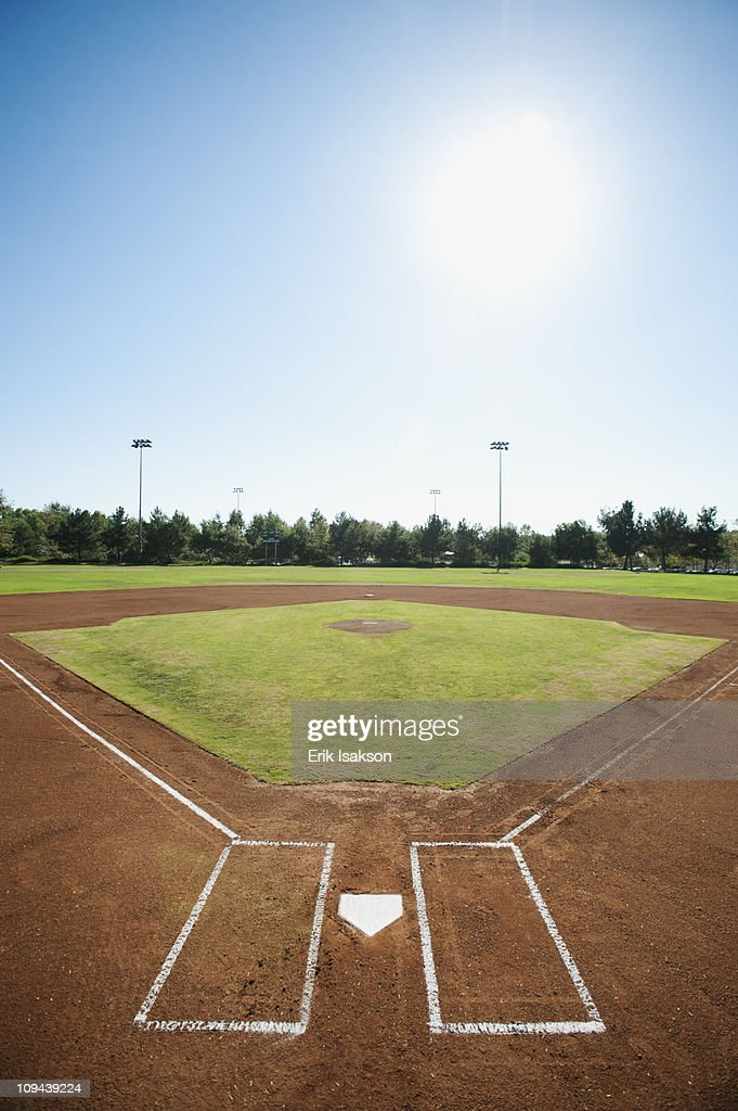 USA, California, Ladera Ranch, baseball diamond : Stock Photo
