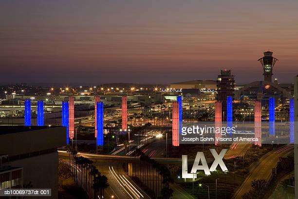 usa, california, lax los angeles international airport at dusk - lax airport stock pictures, royalty-free photos & images