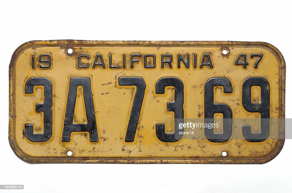 California license plate, 1947 : Stock Photo