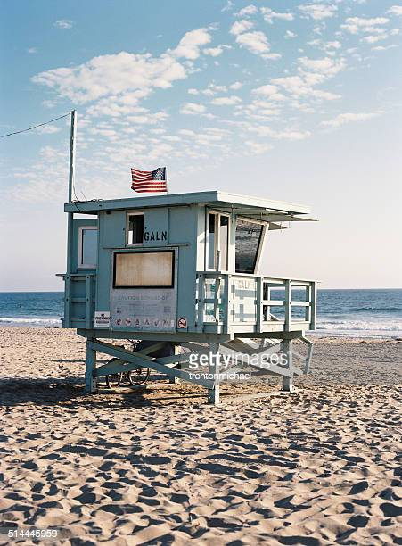 USA, California, Lifeguard hut on sunny beach