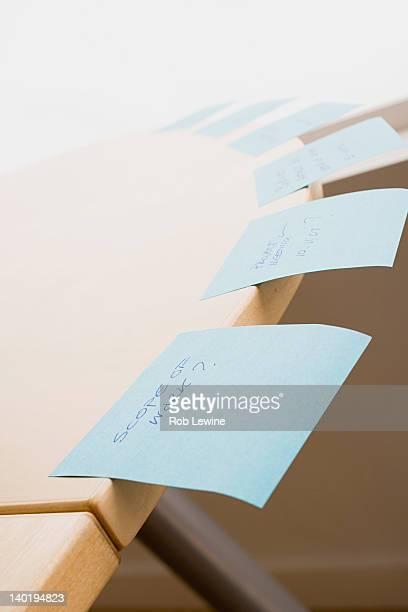 USA, California, Los Angeles, Adhesive notes on desk