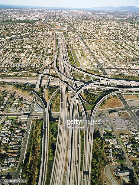 usa, california, los angeles, aerial view of 105 and 405 freeways - highway 405 stock photos and pictures