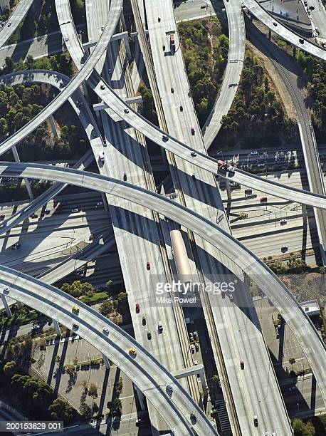 usa, california, los angeles, aerial view of 405 and 105 freeway - highway 405 stock photos and pictures