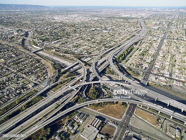 usa, california, los angeles, aerial view of 405  and 105 freeways - highway 405 stock photos and pictures