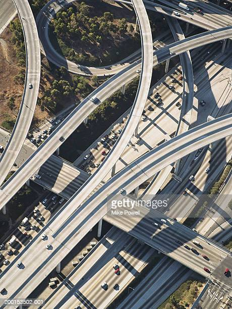 usa, california, los angeles, aerial view of  freeway interchange - highway 405 stock photos and pictures