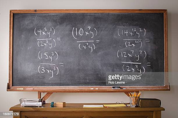 usa, california, los angeles, blackboard during maths lesson - blackboard stock photos and pictures