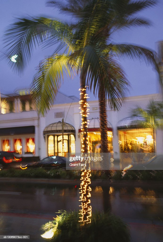 USA, California, Los Angeles, Chrismas lights on palm tree in street at dusk, blurred motion : Stockfoto
