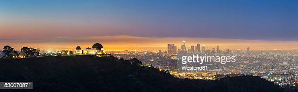 USA, California, Los Angeles, Cityscape and Griffith Observatory, Blue hour