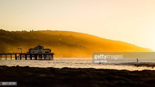 usa, california, los angeles county, malibu, pier at sunrise - malibu stock pictures, royalty-free photos & images