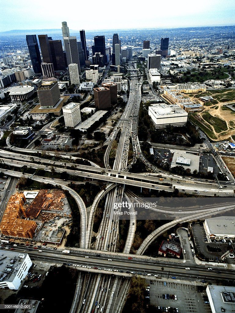 USA, California, Los Angeles, downtown and freeway interchange : Stock Photo