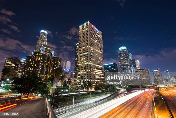 USA, California, Los Angeles, downtown at night