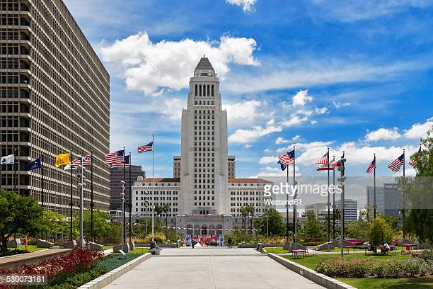 usa, california, los angeles, grand park and los angeles city hall - town hall government building stock pictures, royalty-free photos & images