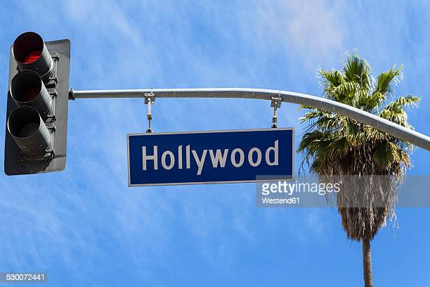 USA, California, Los Angeles, Hollywood, Sign and traffic light