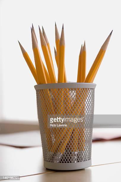 USA, California, Los Angeles, Pencils in metal cup