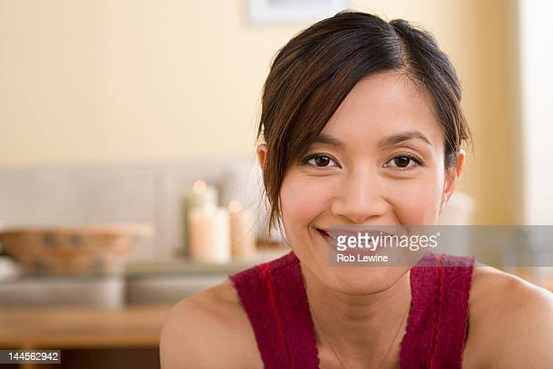 usa, california, los angeles, portrait of woman smiling - pretty vietnamese women stock pictures, royalty-free photos & images