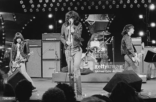 California, Los Angeles, Ramones, L-R: Johnny Ramone , Joey Ramone , Tommy Ramone , Dee DeeRamone performing on Don Kirshners Rock Concert. (Photo by...
