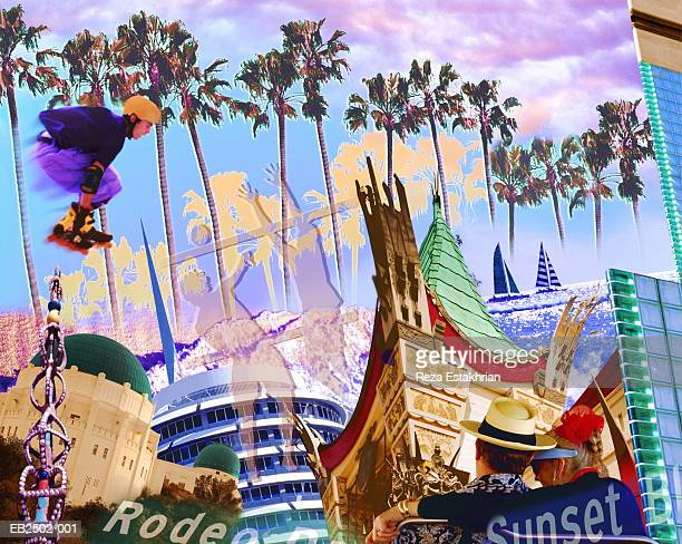 USA, California, Los Angeles, sites and activities (Digital Composite)