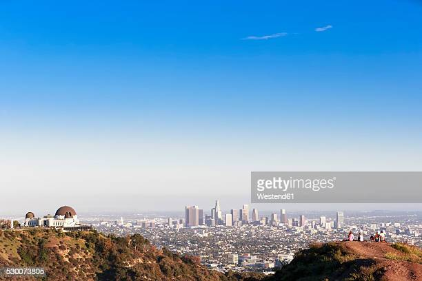USA, California, Los Angeles, Skyline, Griffith Observatory and tourists