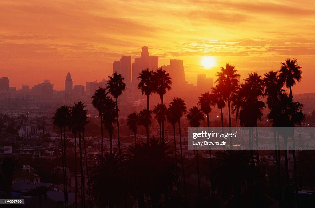 USA, California, Los Angeles skyline, sunset : Foto de stock